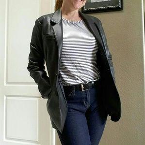 EXPRESS Vintage Vegan Leather Blazer Jacket Sz S
